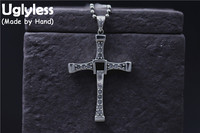 Uglyless Real 925 Sterling Silver Unisex Flexible Cross Pendant Necklace without Chain Crystals Necklaces Christian Fine Jewelry