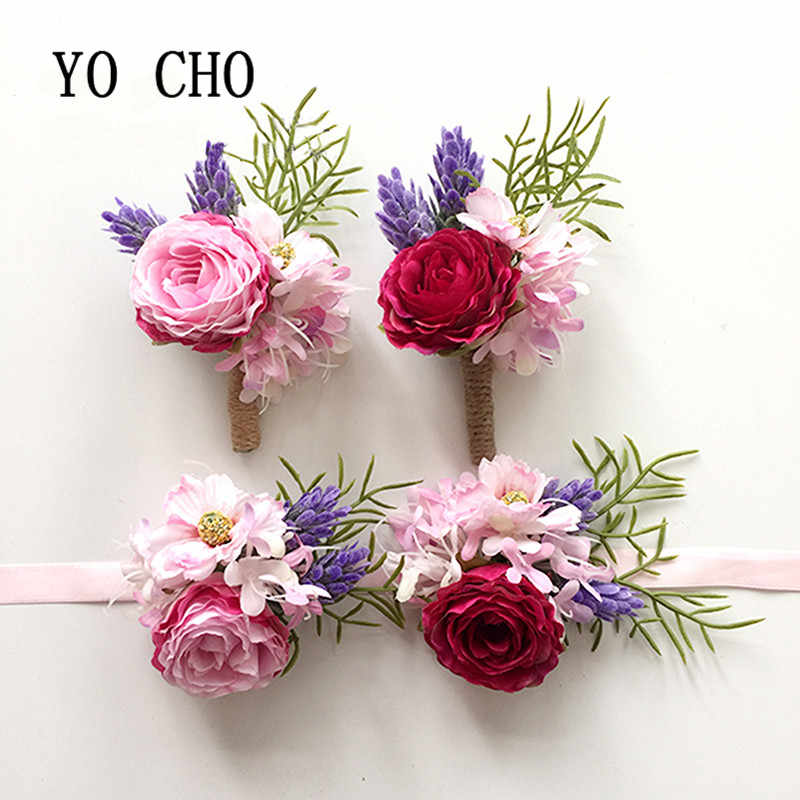 ヨーヨー町結婚式ウエディングコサージュ人工フラワーブローチ新郎介添人花婿の付添人花ブートニエール花嫁介添人の手首の花