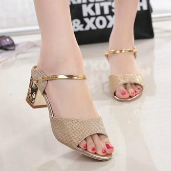 2019 Women Sandals Gold Silver High Heels Shoes Women Sandals Summer Female Open Toe Wedge Sandals Fashion Light Ladies Shoes sandal