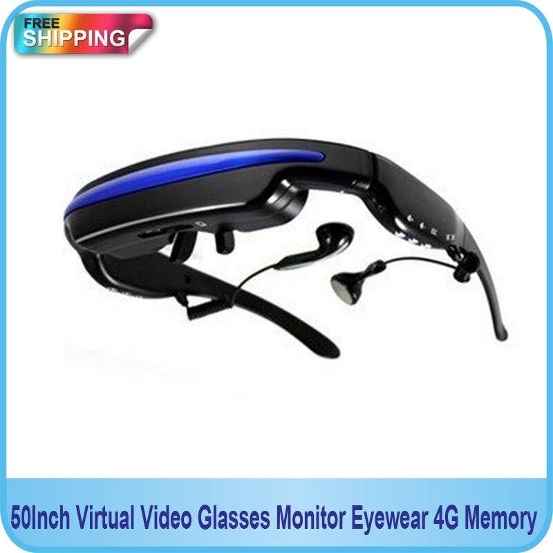 Free shipping!! 50Inch Virtual <font><b>Video</b></font> <font><b>Glasses</b></font> Monitor Eyewear Private Theater 4G Memory