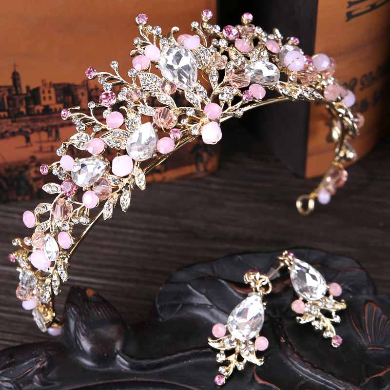 New pink bridal crowns handmade tiara bride headband crystal wedding diadem queen crown with earrings wedding hair accessories rhinestone pearl flower bridal crowns handmade vintage gold tiara headband crystal diadem crown wedding hair accessories