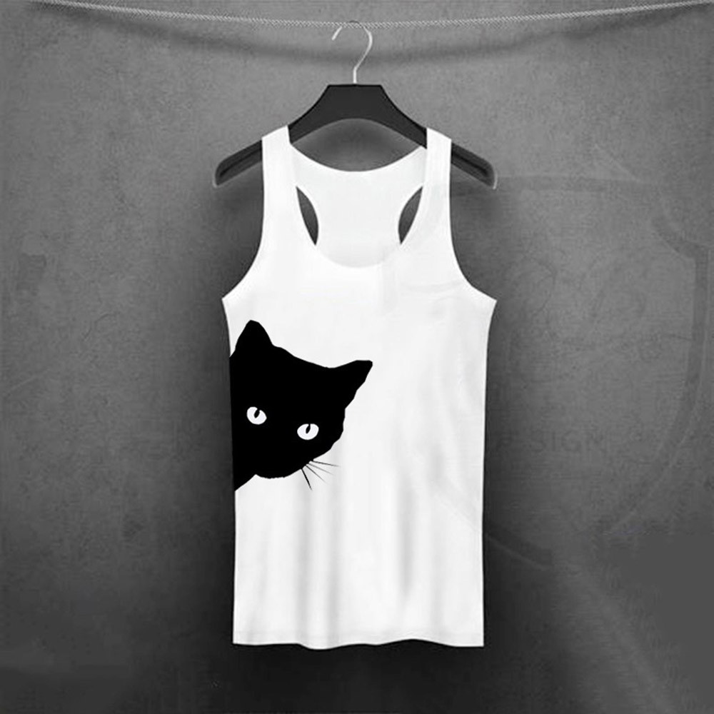 Female Sport Top Woman CAT T-shirt Crop Top Yoga Gym Fitness Sport Sleeveless Vest Running Training Clothes For Womem A19