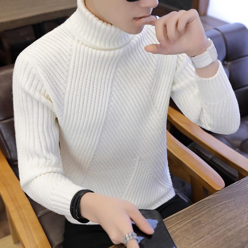 Loldeal di Inverno Caldo di Spessore Uomini Maglione A Collo Alto Della Banda Irregolare Maglie e Maglioni Slim Fit Pullover Suéter Hombre Maglieria Tirare Bianco