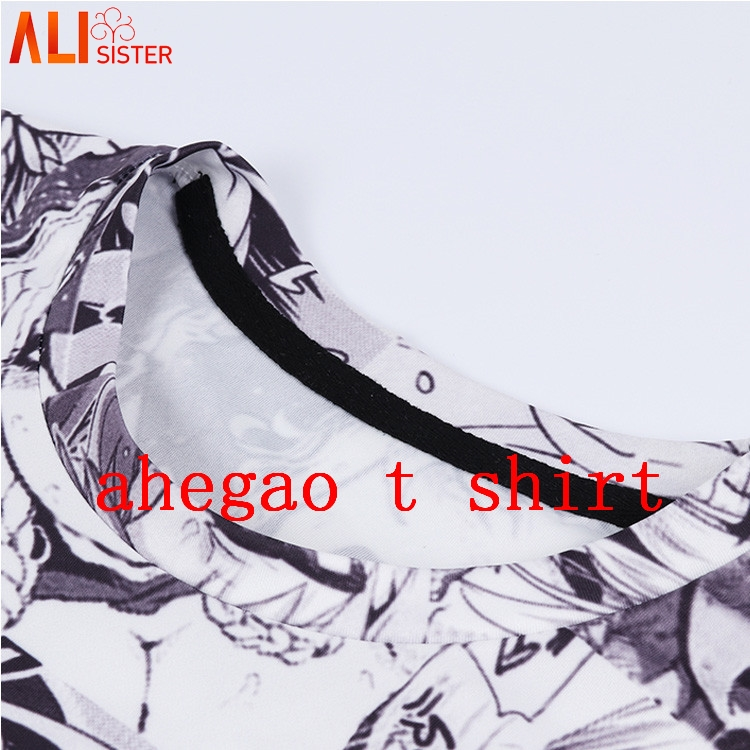 Alisister Ahegao Print T Shirt Men Women Harajuku Face Red Woman T Shirts Funny Shy Girl
