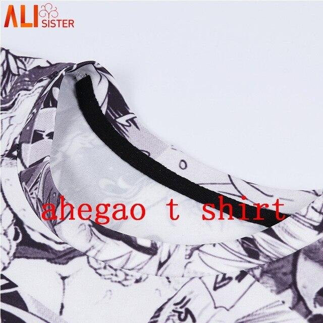 Alisister Ahegao הדפסת T חולצה גברים נשים Harajuku פנים אדום אישה T חולצות מצחיק ביישן ילדה סקסי חולצות קיץ חמוד בגדי Dropship