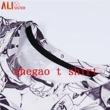 Alisister Ahegao imprimir T camisa de los hombres las mujeres Harajuku cara roja mujer divertido T camisas chica tímida Sexy Tops de verano lindo ropa Dropship