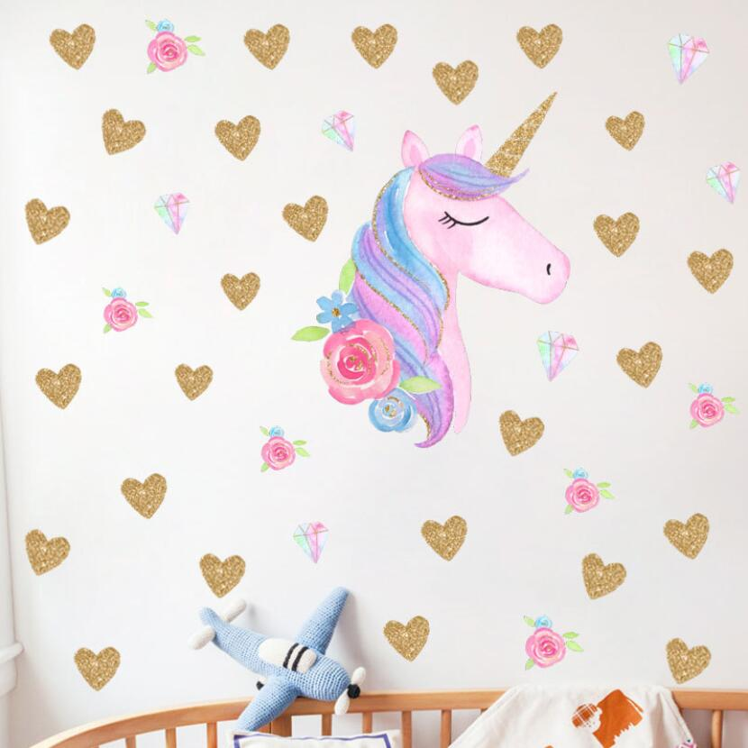 US $6.39 40% OFF|2019 Beautiful 3d Unicorn Stickers Kids Room Wall Decor  Baby Girl Bedroom Decor Sticker Wall diy Children Adesivo de Parede W147-in  ...