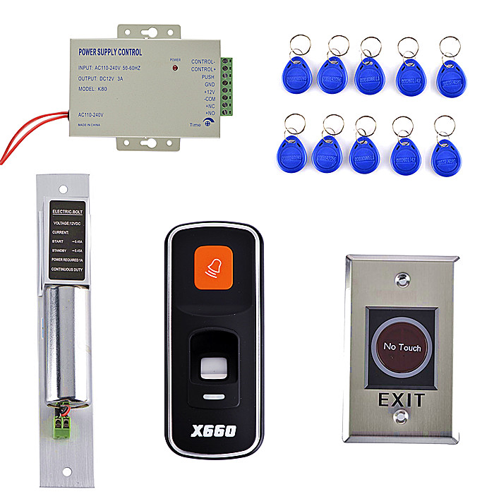10 RFID Key Card +NO Touch Door Switch +DIY Fingerprint 125KHz RFID ID Card Reader Door Access Control System Kit id card 125khz rfid reader