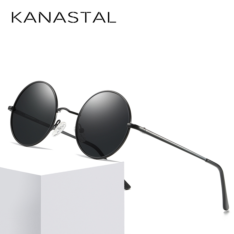 KANASTAL Metal Steampunk Sunglasses Polarized Oval Mirror Round Men Women Driving Glasses UV400