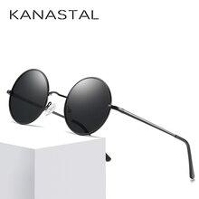 Мужские и женские очки в стиле стимпанк KANASTAL, круглые поляризационные очки с овальным зеркальным покрытием, UV400
