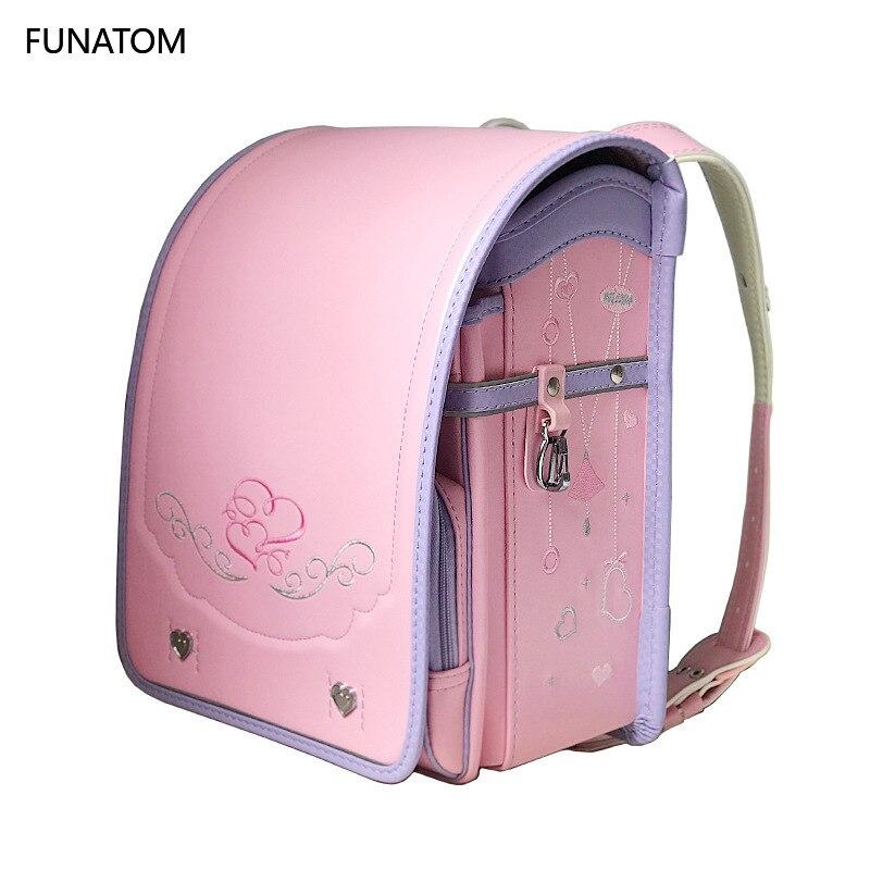 Randoseru Kid PU Solid Children's Orthopedic Backpack For Gilrs And Boy Children School Bag Japan Student Backpack