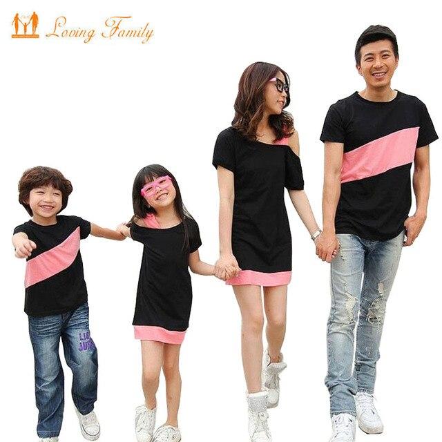 Семья Взгляд Clothing Специальные Плечо Для Мать Дочь Платья Семьи Соответствующие Наряды Футболки для Отца Сын Одежды Семьи