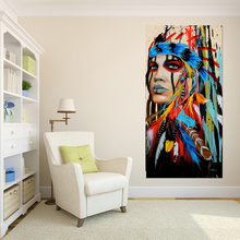 Modern Native American Indian Girl Feathered Canvas Painting
