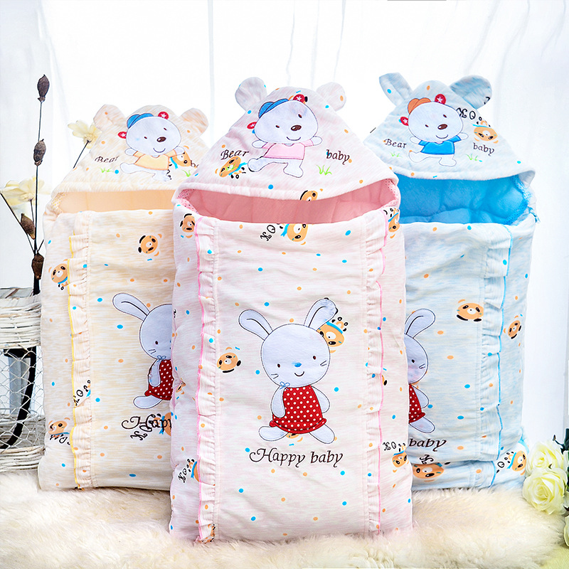 Raise Young Winter Cartoon Rabbit Baby Sleeping Bag 100% Cotton Envelope For Newborns Baby Stroller Sleepsacks 75*45cm