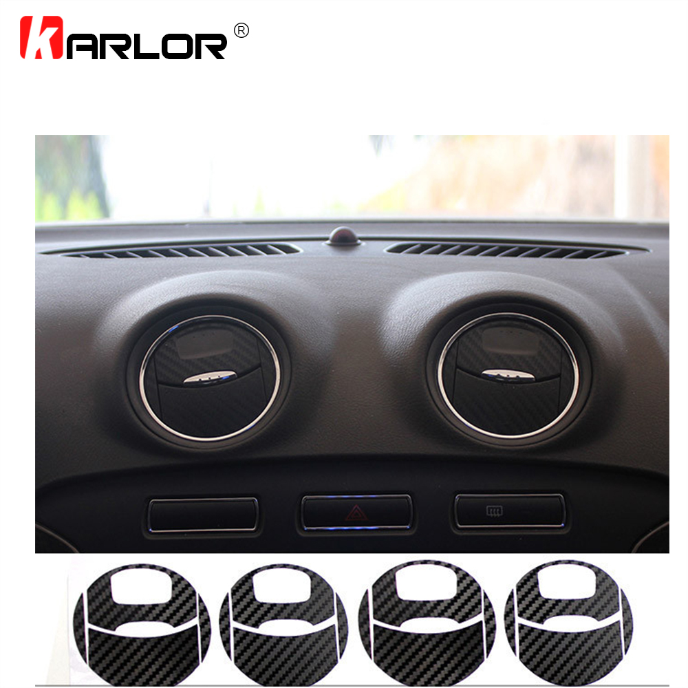 4PCS/Set Carbon Fiber Car Air Conditioner Outlet Stickers Protection Decal Vinyl Decoration For Ford Mondeo MK3 Car Accessories