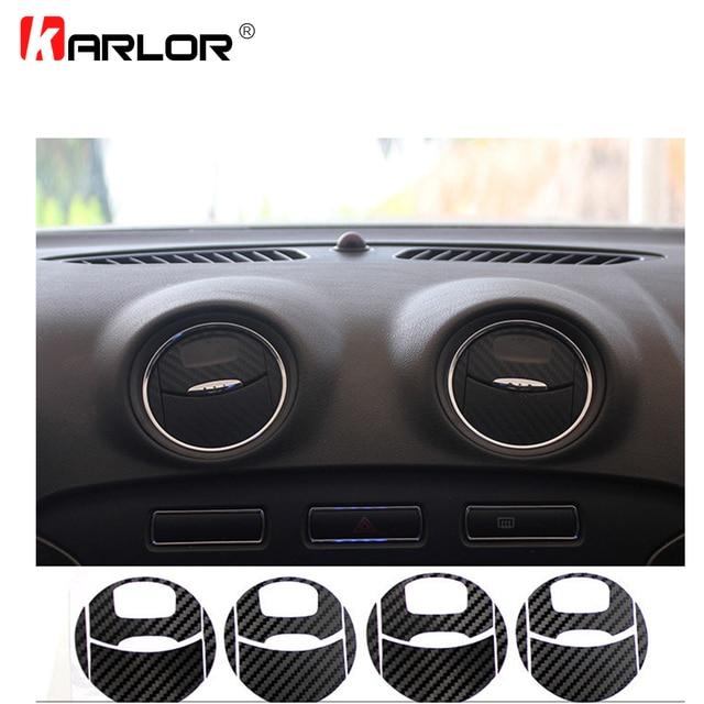 Autocollants pour la sortie de climatisation de voiture, en Fiber de carbone, décoration autocollante en vinyle pour Ford Mondeo MK3, accessoires de voiture, 4 pièces/ensemble
