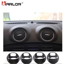 Juego de pegatinas de fibra de carbono para aire acondicionado de coche, calcomanía de protección, decoración de vinilo para Ford Mondeo MK3, accesorios para coche, 4 unidades