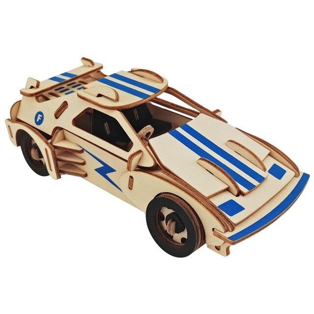 1 pcs 3D Enigma De Madeira puzzle carro de brinquedo Crianças Brinquedos de Aprendizagem Educacional para Crianças Jogos de Cérebro Teaser de Arte Artesanato DIY presente