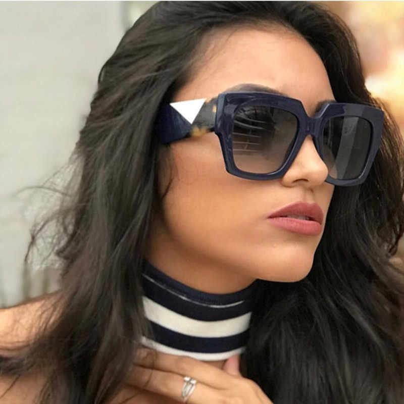 65827885f2 Flat Top Oversized Square Sunglasses Women Gradient 2019 Summer Style  Classic Women Sun Glasses Female Big