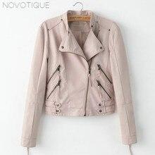 Black Leather Korean Fashion Vintage Women's Sexy Cool Jacket Short 2018 Spring Coats Curvy PU Warm Black Pink Jacket
