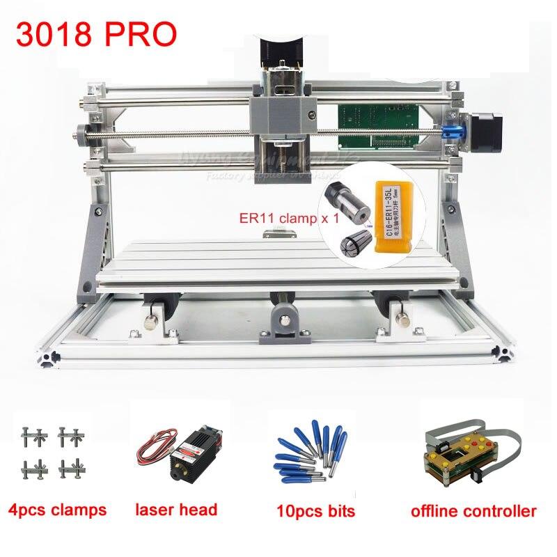 CNC 3018 pro 500 mw 2500 mw 5500 mw fraiseuse laser pour PCB coupe-bois 220 V 110 V avec contrôleur hors ligne GRBL