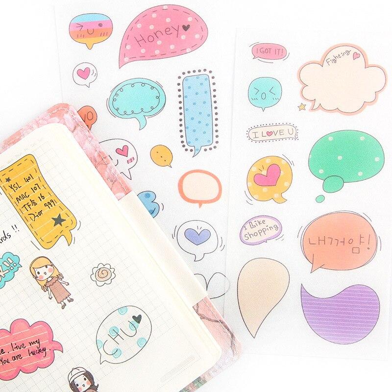6 pcs/pack Funny Dialog Box Stickers Set Decorative Stationery Stickers Scrapbooking DIY Diary Album Stick Label