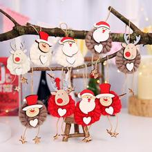 3Pcs Elk Santa Claus Snowman Felt Cloth Rope Doll Christmas Tree Hanging Decor