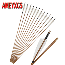 6/9pcs Archery Bamboo Arrows Traditional Bow Replaceable Arrowhead for Recurve And Traditional Bow Hunting Shooting Accessories