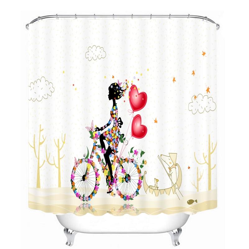 MYRU 3D Print Waterproof Bicycle Shower Curtains Bath