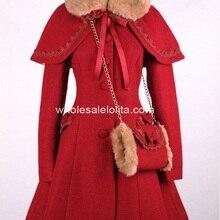 Брендовое Новое красное шерстяное зимнее милое пальто Лолиты Готическая Лолита