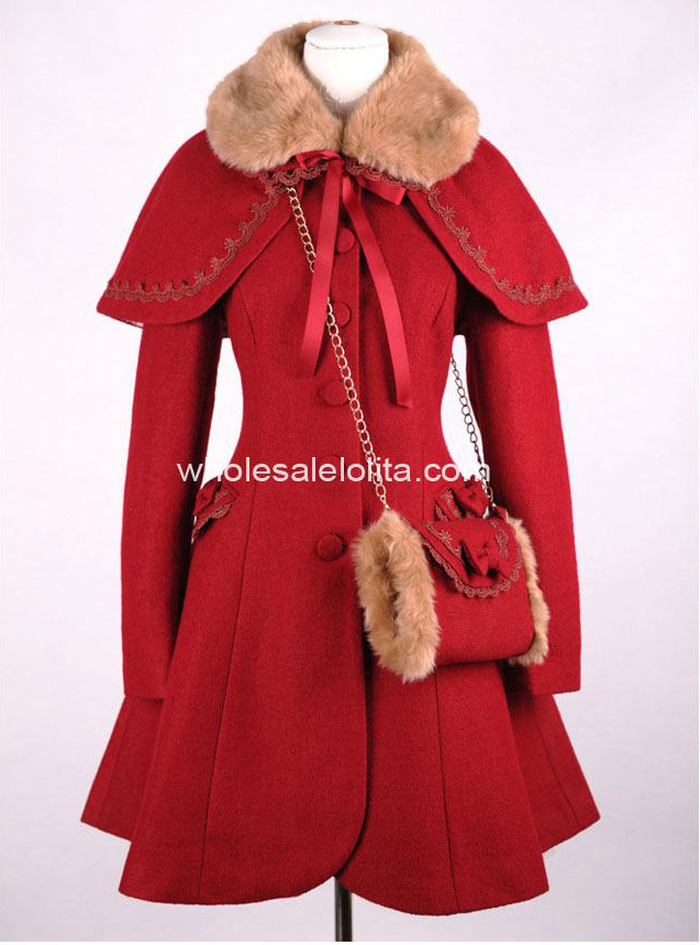 Doux Rouge Manteau Laine Gothique Hiver Lolita Marque Nouvelle TnwpFIaI