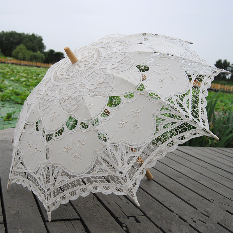 Fashion Sun Umbrella Cotton Embroidery Bridal Umbrella White Ivory Battenburg Lace Parasol Umbrella Wedding Umbrella Decorations 1