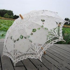 Image 2 - Sombrilla bordada de algodón para novia, sombrilla de encaje blanco marfil, sombrilla decorativa para boda