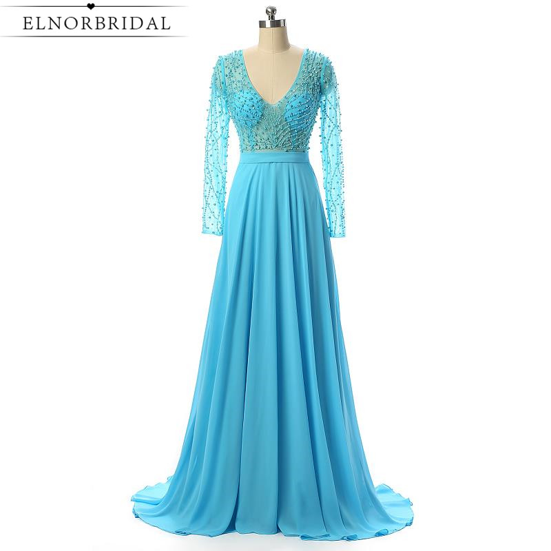 Sky Blue Long Sleeves Evening Dresses Real Image 2017 Vestido De Noche Illusion Back V Neck Formal Women Prom Dress