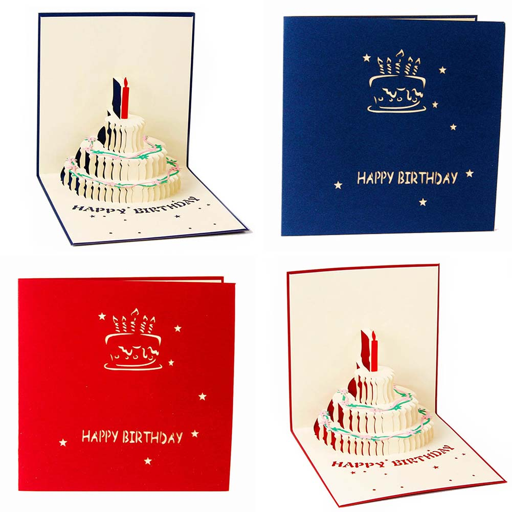 3D Pop Up Handcrafted Origami Birthday Cake Candle Design Greeting Card Envelope Invitation Card