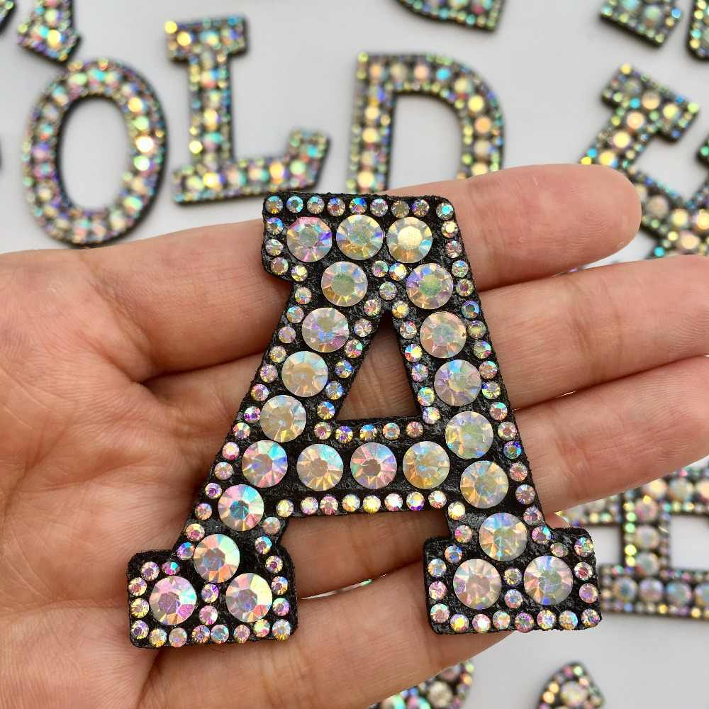 A-Z carta Strass ferro no remendo remendo letra do alfabeto patches 3D AB Strass Apliques Crachá DIY Colar de Contas