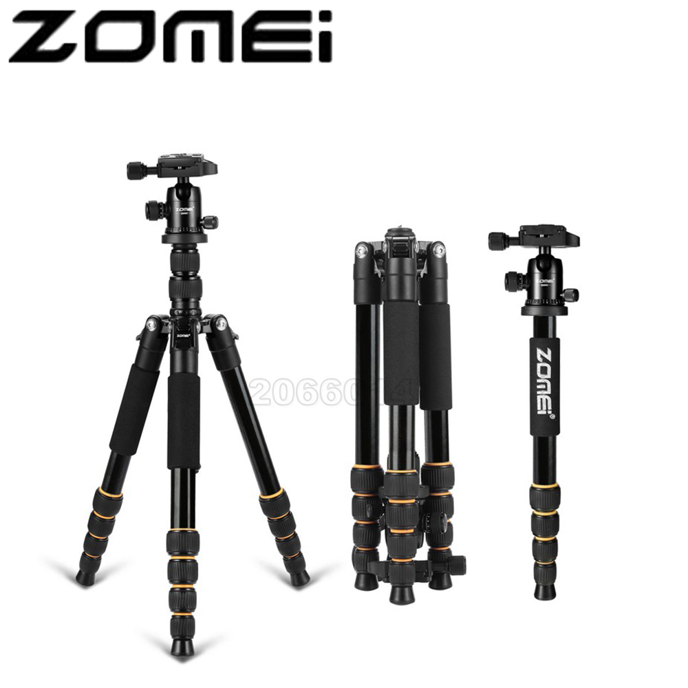 New Zomei Q666 Aluminum Professional Tripod Monopod + Ball Head For DSLR camera Portable / SLR Camera stand / Better than Z666 new zomei z688 aluminum professional tripod monopod for dslr camera with ball head portable camera stand better than q666