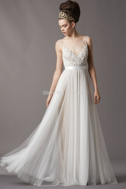 9e5aaf490f De Encaje sin mangas de Tul Vestido de Noche Blanco Elegante en ...