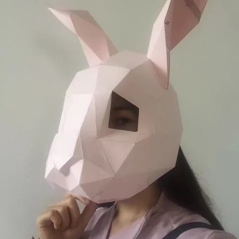 Rabbit DIY Mask Cosplay Christmas Costume  Adult Children Cardboard Breathable Halloween Ricky Funny Masks