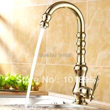 L15960-Роскошные Бортике Золотой Цвет Латуни Однорычажный Кухонный кран