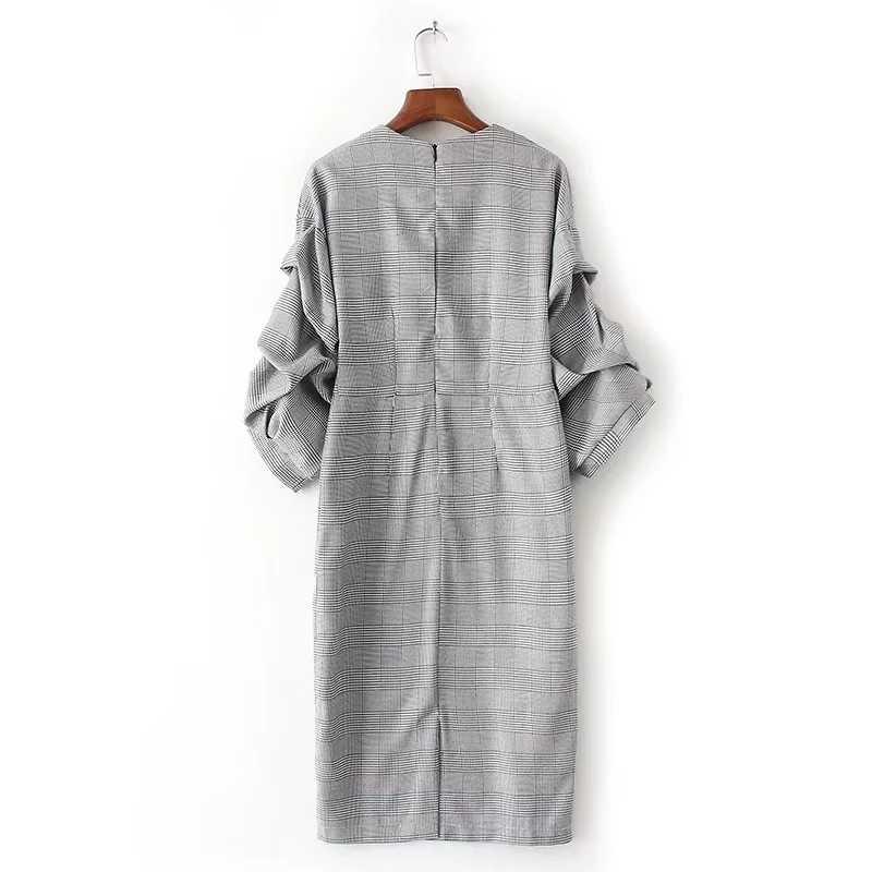 TWOTWINSTYLE клетчатое платье Женский v-образный вырез фонарь рукав блуза с рюшами Высокая талия миди платья 2018 Весенняя модная винтажная одежда