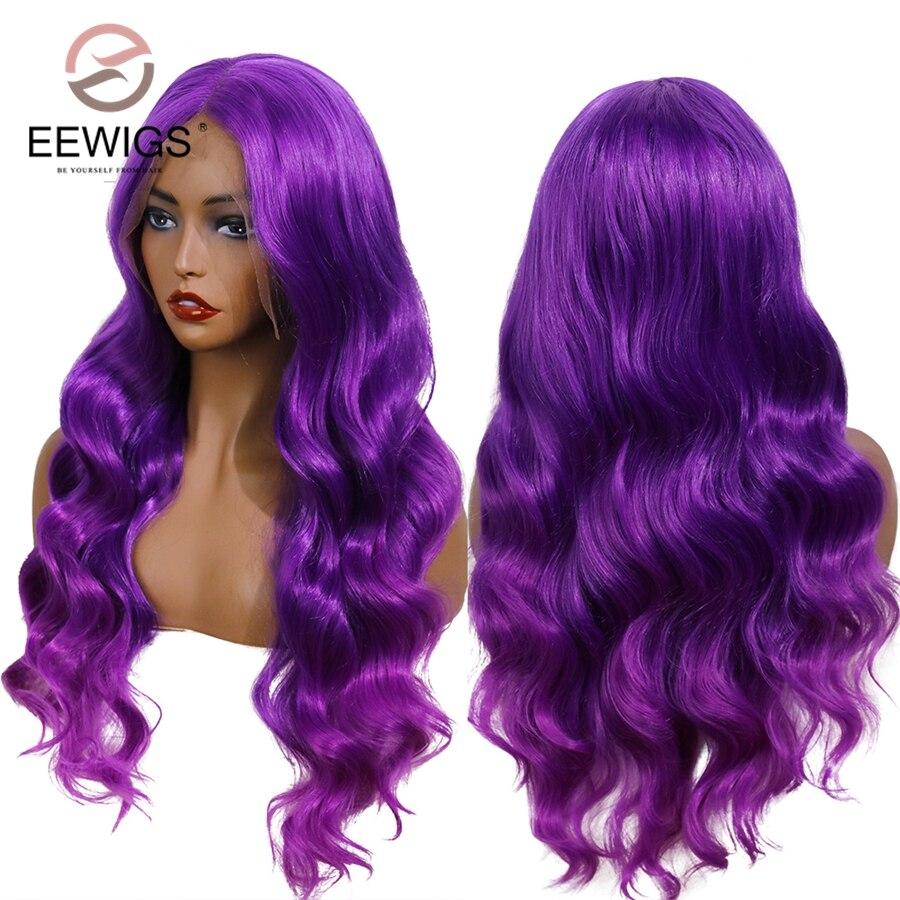 EEWIGS púrpura Ombre Peluca de Color de alta temperatura 13x6 sintético peluca con malla frontal sin costuras oscuro largo onda pelucas para mujeres negras