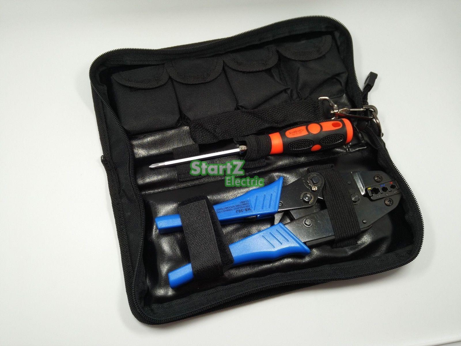 Crimping Hand Tool w/ Die Kit Electrician Crimper Wire Cable Ratchet Crimp Set