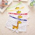 4 unids/lote chico underwear calzoncillos infantiles para niños de algodón boxer underwear bragas niños jirafa