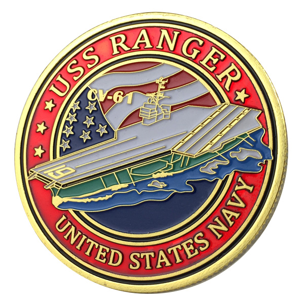 US $2 85 |Factory 3D Engraved United States Navy USS Ranger / CV 61 24K  Gold Plated Challenge Coin 1131#-in Pins & Badges from Home & Garden on