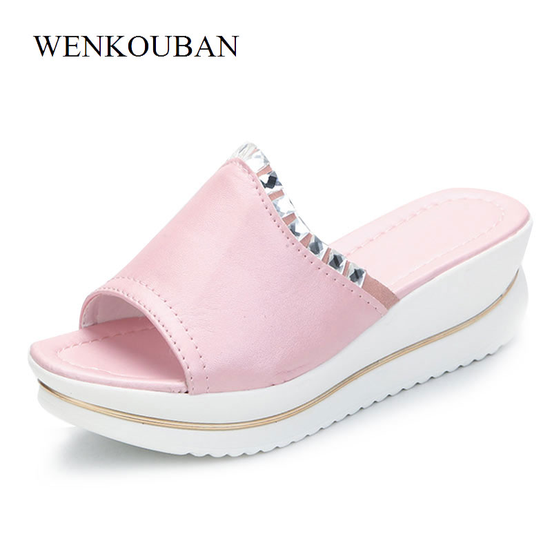Designer Platform Sandals Women Wedges Sandals Summer Genuine Leather Casual Slippers Ladies Crystal Beach Shoes Zapatos Mujer waikol new women summer heavy bottomed sandals ladies beach slippers wedges shoes platform candy color casual shoes wholesale