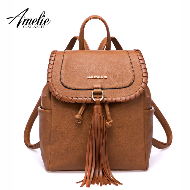 AMELIE GALANTI Women Fashion Backpack Casual School Bag with Tassel PU Leather Women Backpack Famous Brand Luxury Lady Backpack