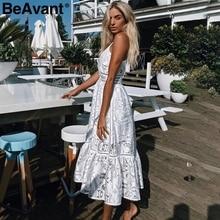 BeAvant v neck sexy lace summer dress women Strap button casual white dress female Streetwear backless midi dress vestidos 2018