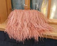 Designer Satin Ostrich Fur Feather Clutch Women Clutch Knuckle Rings Dinner Evening Bag Chain Purse Handbag