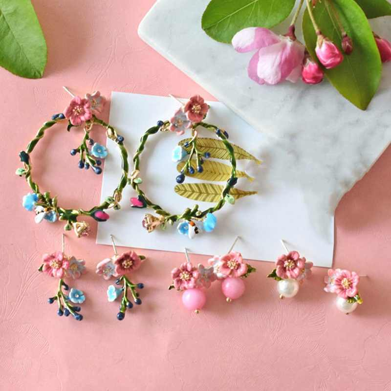 Earring For Woman Flower Series Enamel Small fresh asymmetric flower circle Plants flower circle earrings